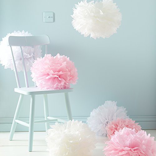 9er Set Seidenpapier PomPoms weiß rosa crème Hochzeit Party Deko Lights4fun