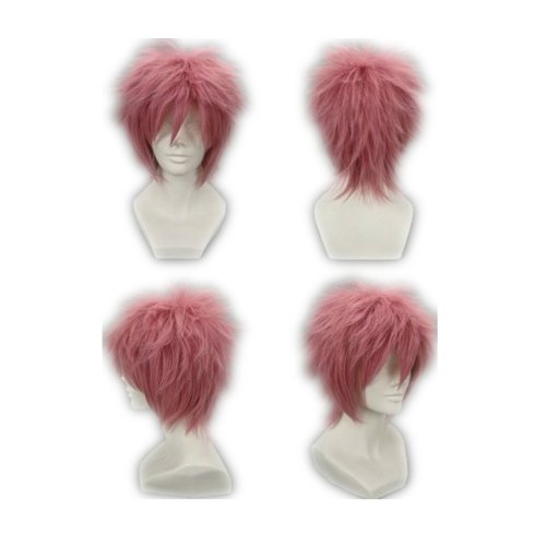 COSPLAZA Cosplay Costume Wigs Perruque Fairy Tail Natsu Dragneel courte rose Cheveux