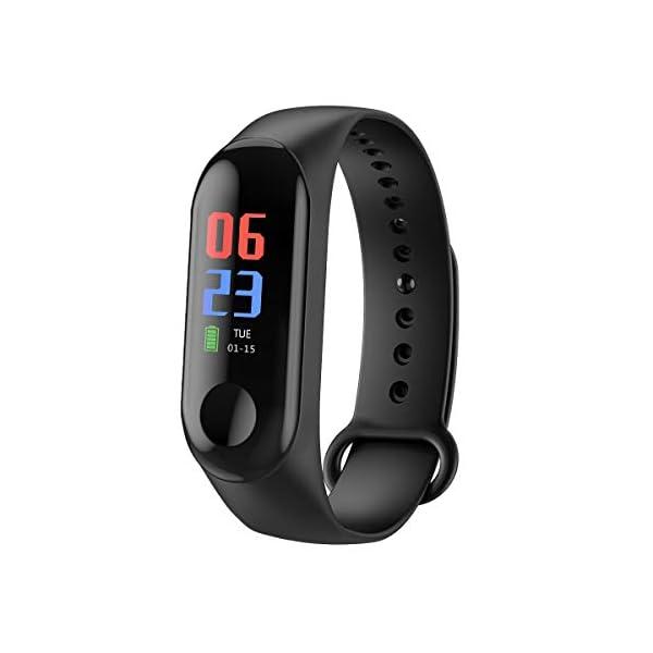 Rastreador de Ejercicios, Smart Bluetooth Sport Waterproof Rastreador de Ejercicios Reloj Inteligente con Ritmo cardíaco Presión Arterial Podómetro Monitor de sueño Calorías Contador de Pasos 1