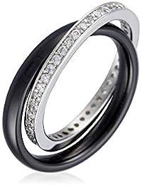 Mes-bijoux.fr Bague céramique Noire, Argent et oxydes de Zirconium Réunis 997a9f762022