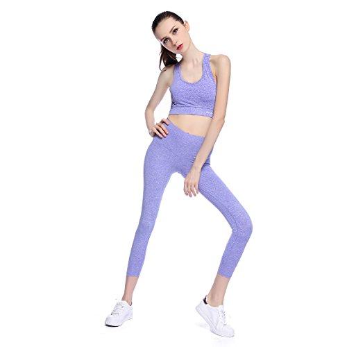 Bonjanvye Running Bra and Activewear Pants Yoga Clothing Sets for Women Sport Clothing VioletM (Set Pant Cropped Green)