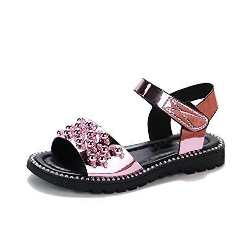 Sommer-Mädchen Strass Sandalen Kind-Kind-Leder Prinzessin Sandalen Partei-Schuh, Rosa, 11,5 (Extra Breite Kunststoff-wrap)