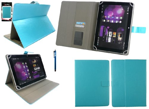 Emartbuy® Denver TAQ-10153 10.1 Zoll Tablet Universalbereich Türkis Multi Winkel Folio Executive Case Cover Wallet Hülle Schutzhülle mit Kartensteckplätze + Türkis Eingabestift