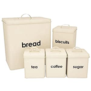 5PC CREAM TEA COFFEE SUGAR BISCUIT BREAD BIN CANISTER SET KITCHEN by Harewood