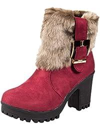 be6ae340643e3 Tefamore Zapatos de Mujer Botines Zapatos Casual de Mujer Martíns Botas  Señoras Moda Otoño Invierno Tacón Alto Cremallera Hebilla…