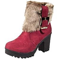Botas para Mujer K-youth Botas Mujer Invierno 2019 Otoño Martin Botas De Tubo Corto Zapatos De Mujer con Hebillas Botines Mujer Tacon Ancho Botas de Mujer Snow Botín Corto