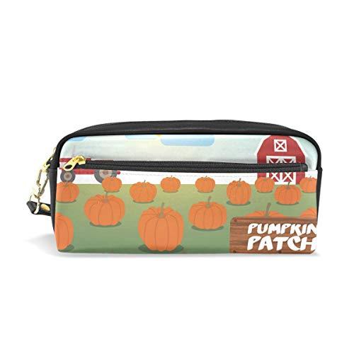 Patch-leder Tasche (Eslifey Pumpkin Patch Tragbare Tasche PU Leder Schule Stifteetui Stationäre Stifttasche für Kinder Wasserdicht Kosmetik Tasche Make-up Beauty Case)