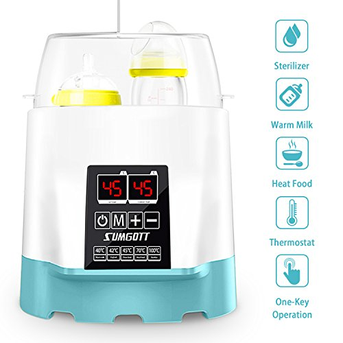 Baby Flaschenwärmer, SUMGOTT 5-in-1 Multifunktionale Flaschen Sterilisator und babykostwärmer mit LCD-Bildschirm