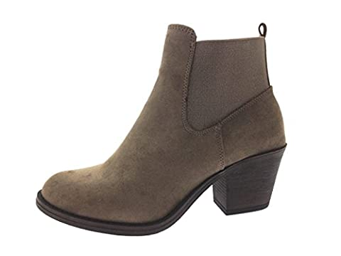 Lora Dora Womens Chunky Block Heel Chelsea Ankle Boots Size UK 5 Taupe