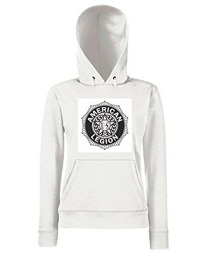 T-Shirtshock - Sweats a capuche Femme TM0368 American Legion usa Blanc