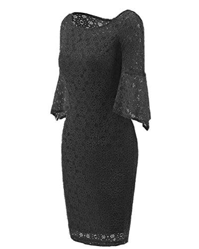 YiLianDa Donna Pizzo Mini Abito Tromba Maniche Partito Cocktail Di Sera Vestito Vestiti In Pizzo Elegante Nero