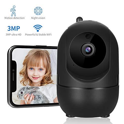 Dericam Überwachungskamera, WLAN IP Kamera, WiFi 3MP Baby Kamera Monitor mit Bewegungserkennung, HD Mobile APP Kontrolle, Zwei-Wege Audio,Schwarz
