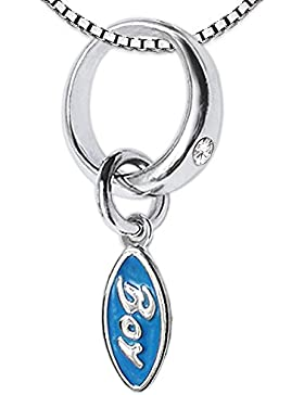 CLEVER SCHMUCK-SET Silberner kleiner Taufring mit Zirkonia weiß und Einhänger Boy hellblau lackiert mit Kette...