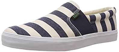 United Colors of Benetton Off-White and Blue 901 Canvas Loafers and Mocassins - 11 UK