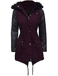 NEW Womens LADIES PARKA JACKET Quilted PU Sleeves WINTER COAT Size 8 10 12 14 16 18 20 22 24 (10, MULBERRY)