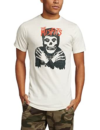 The Misfits - - Klassik-Schädel (Distressed) Herren T-Shirt im Vintage White, Small, Vintage White