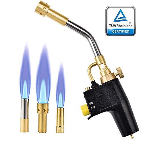 HUKOER MAPP Propanbrenner Schweiß- und Grill Brenner High Intensity Trigger Startbrenner mit 3 Düsen/Spitzen, Gasflaschen nicht im Lieferumfang enthalten