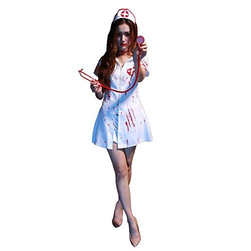 Blutige Krankenschwester Horror Kostüm Set Damen Halloween Verkleidung (Blutige Krankenschwester Kostüm)
