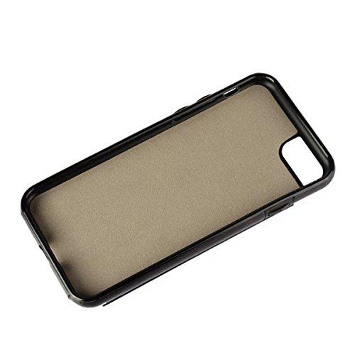 MOONCASE iPhone 7 Hülle, Pocketstyle Leder Schutzhülle Kartenfächer und Magnetverschluss Handyhülle Case für iPhone 7 (Schwarz) Schwarz