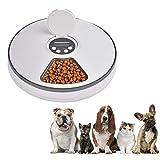 Nishci Dispensador Automático de Comida para Perros y Gatos, Gatos y Mascotas, Comedero para Mascotas con 6 Compartimentos y Agua, Grabación de Mensajes de Voz
