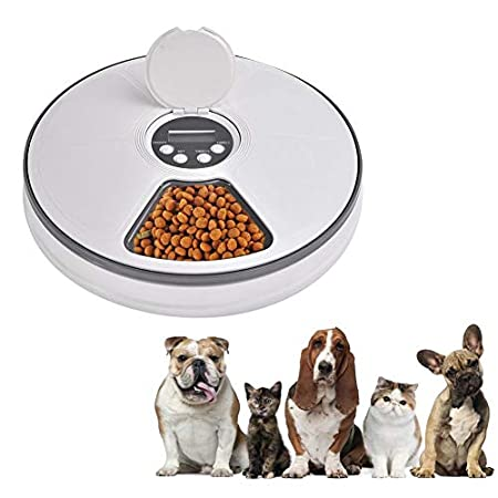 Automatischer Futterautomat für Katzenhunde, 6 Mahlzeiten Futterspender Unbemannte Fütterungsmaschine, Digitaler Timer…