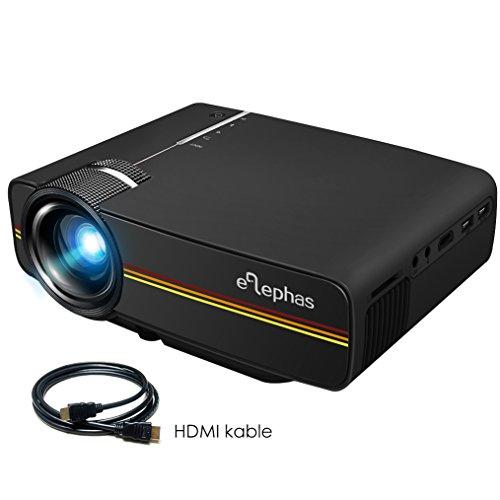 Beamer, ELEPHAS LED Mini Beamer unterstützt 1080P HD für HDMI / VGA / AV / USB / SD für TV PC Laptop Kopfhörer iphone Filme und Video Spiele, Schwarz