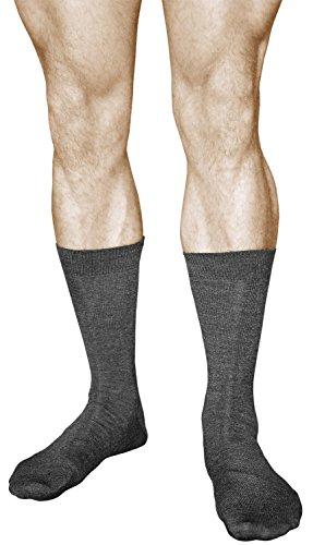 2 Paar Herren Wollsocken, PREMIUM MERINOWOLLE, Klimaregulierende Wirkung, Vitsocks Klassisch, 39-41, grau (Ferse Bedeckt)