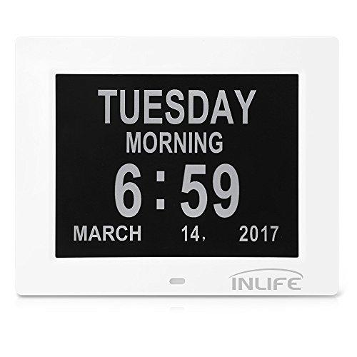 INLIFE Orologio da Tavolo con Calendario Digitale, Schermo Grande, Suoneria in Tempo Preciso, 8 Lingue, Slot Batteria per Backup, Cornice di Foto o Video con Scheda SD (Bianco)