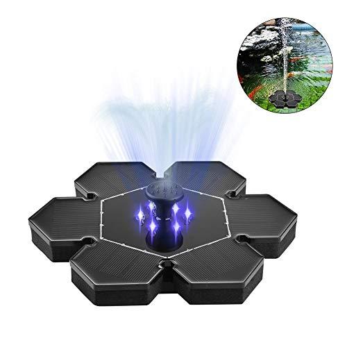 Solar Springbrunnen Garten 2.4W mit 2 Hour Power Speicherfunktion Solar Brunnen Outdoor Mini 6 LED Licht Freistehende Schwimmende Vogelbad Solar Wasserpumpe für Vogelbad, Fischbecken, Kleinen Teich -