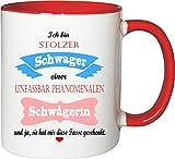 Mister Merchandise Becher Tasse Stolzer Schwager Einer unfassbar phänomenalen Schwägerin Kaffee Kaffeetasse liebevoll Bedruckt Traumhaft Wahnsinnig fantatsisch Weiß-Rot