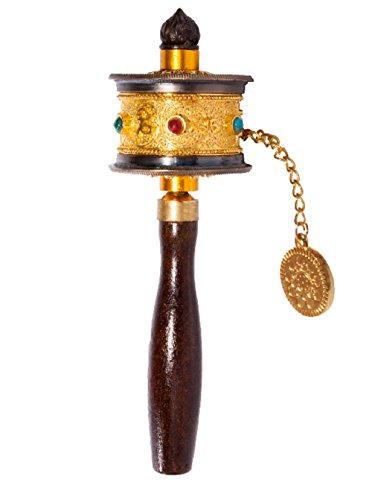 DMtse tibetisch-buddhistischen OM Mani Padme Hum funktionieren Mini Handheld Gebetsmühle mit Mantra Scroll - Tibetische Gebetsmühle