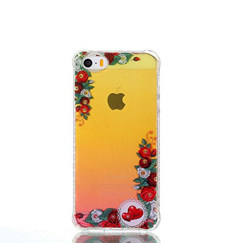 ZeWoo TPU Schutzhülle - YT10 / rote Rose - für Apple iPhone 5 5G 5S / iPhone SE (4 Zoll) Silikon Hülle Case Cover YT10