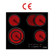 Gasland Chef CH604BF 60cm Built-in Ceramic Hob, 4 Zones Electric Cooktop in Black, 6600W Total Output, with Dual & Oval Zone Touch Control Timer Child Lock