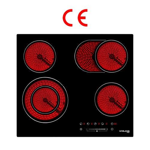 Gasland Chef CH604BF Encastrable Table de Cuisson Vitrocéramique, Électrique Plaque de Cuisson 60cm, 6600W, 4 Foyers, Zone Double & Ovale, Commande par Slider, Minuterie, un Verrou de pour Enfants
