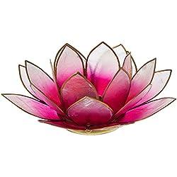 Something Different - Portavelas flor loto - Concha de capiz - Rosa claro