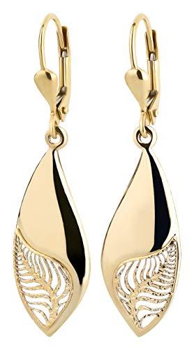 Ardeo Aurum Damen Hänge-Ohrringe aus 333 Gold Gelbgold Brisuren Hänger ohne Stein hochglanz-poliert oval Blatt Laub Zweig