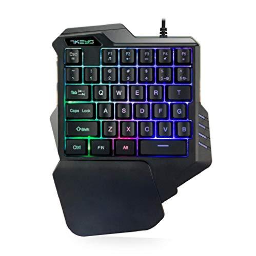 Yeefant G30 Gaming-Tastatur, kabelgebunden, LED-Hintergrundbeleuchtung, 35 Tasten, einhändige Membran-Tastatur - Kabel Subwoofer Abs