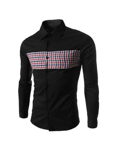 Herren Langärmlig Plaids Muster Stilvolle Casual Top Hemd Schwarz