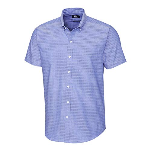 Cutter & Buck Herren Big & Tall Short Sleeve Strive Three Bars Jacquard Up Shirt Button Down Hemd, Chelan, Large Hoch - Big And Tall Baumwolle Kleid Shirt