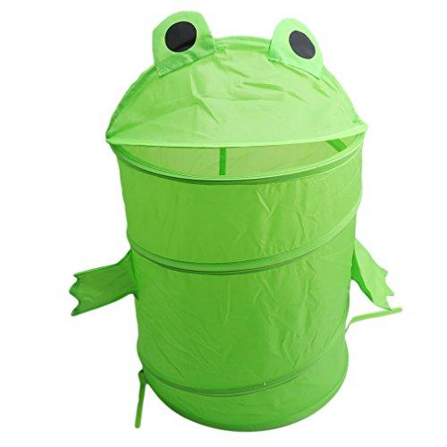 HENGSONG Niedlicher Cartoon Spielzeugkorb Wäschekorb Wäschesammler Faltbarer Speicher Korb Aufbewahrungsbox Organizer für Kleine Kleidung (Frösche)