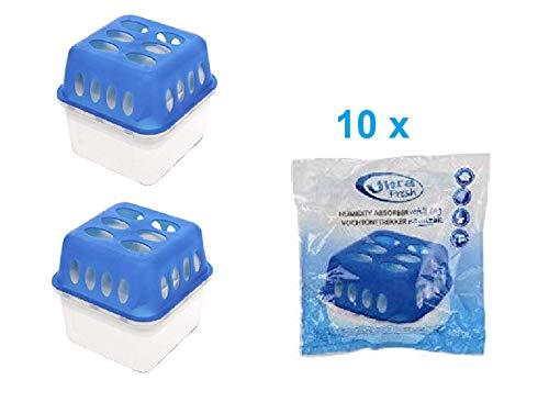 2 Boxen + 10 Granulat 400 Gramm Luftentfeuchter (2D+2E) Feuchtigkeits-Stopper mit Nachfüll-Beutel Granulat Nachfüllpack Vliesbeutel Raumentfeuchter + Microfasertuch -Vanorell-