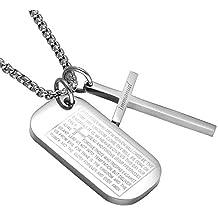 J.Memi.FA Hombres Collar Acero Inoxidable Escritura Cruzar Colgante Chapado en Oro Religión