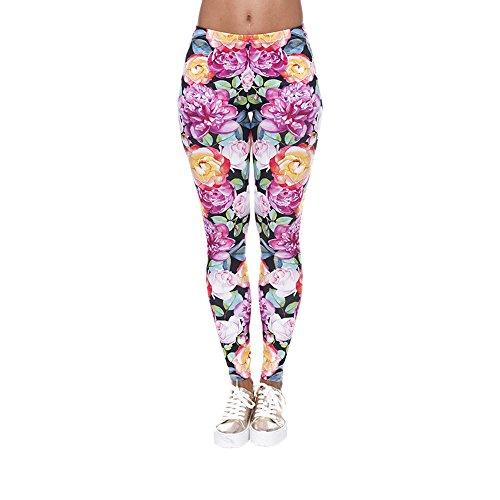 Hanessa Frauen Leggins Bedruckte Leggings Hose Frühling Sommer Kleidung bunte Blumen Rosen Tulpen L86