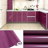 KINLO 5x0.61 M PVC Küchenschrank-Aufkleber Selbstklebend Küchenfolie Klebefolie Schrankfolie Deko Tapeten Rollen für Küchenschränke Möbel,Lila