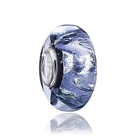 Materia Beads Murano Glass Beads Glitter Purple Blue with Silver Foil–Glass Charm Bead for Bracelet #