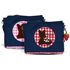 Kindergartentasche & Kindergartenrucksack in einem: Bambi Reh für Mädchen (mit Namen) in blau