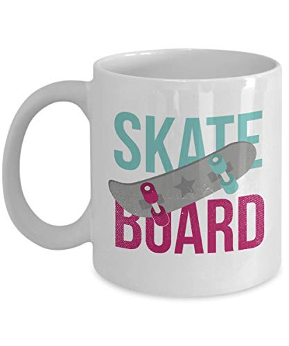 Hshbgiu Unique Women's Skate Board Coffee & Tea Gift Mug and Skateboard Themed Accessories for Youth & Women