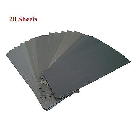 Schleifmittel Trocken-nass Wasserdichte Schleifpapier Assorted Blätter Körnung von 400~3000 für Möbel, Hobbys und Heimwerken, 20 Stück
