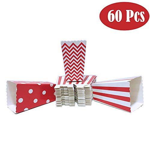 Winiron 60Stk Popcorn Tüten Candy Container Popcorn Box Partytüten für Popcorn Salzstangen und Candybar
