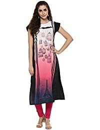 ZIYAA Women's Multicolor Color Self Print Straight Crepe Kurta